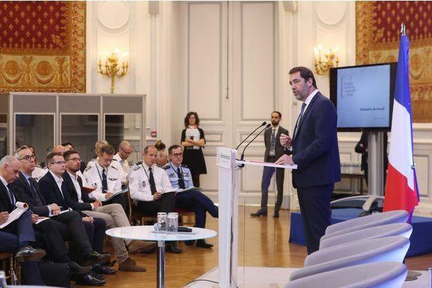 Christophe Castaner lundi matin lors du séminaire, à Paris.