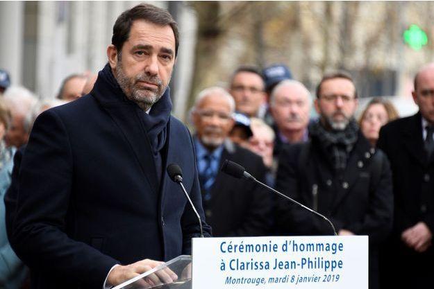 Christophe Castaner lors de l'hommage à Clarissa Jean-Philippe le 8 janvier 2019.