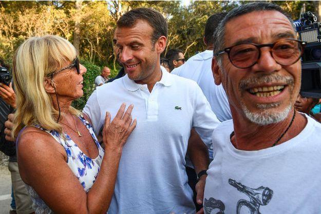 Emmanuel Macron à Bormes-les-Mimosas, le 7 août.