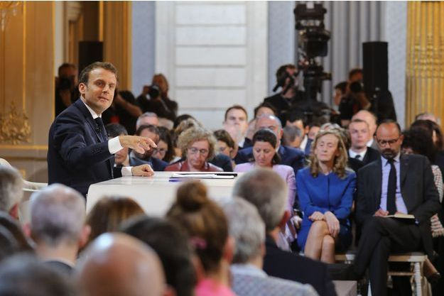 Emmanuel Macron jeudi lors de sa conférence de presse à l'Elysée.