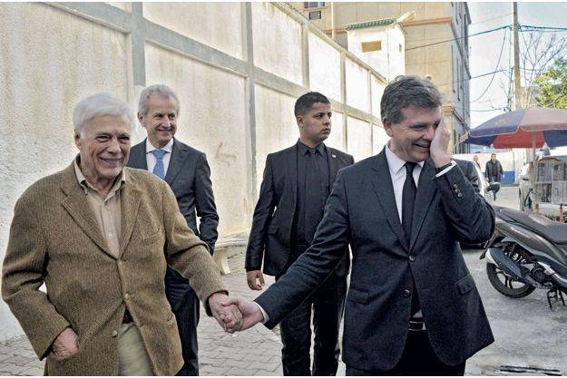 Guy Bedos et Arnaud Montebourg le 11 décembre à Alger.