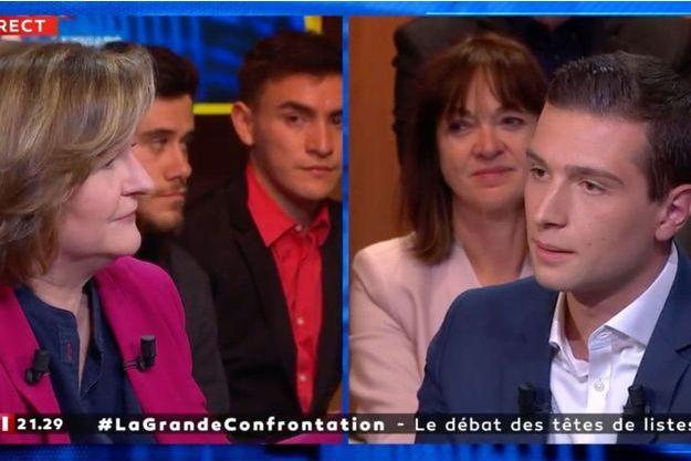 Nathalie Loiseau face à Jordan Bardella sur LCI, lundi.