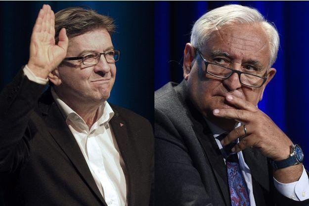 """Jean-Luc Mélenchon et Jean-Pierre Raffarin, tous deux nommés par le jury du """"Prix Press Club, humour et politique""""."""
