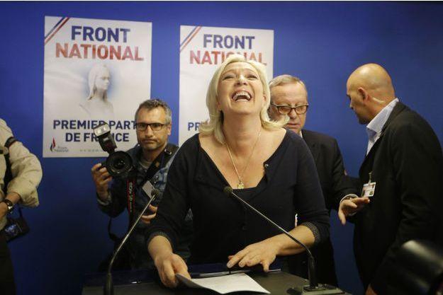 Marine Le Pen, au moment de prononcer son discours de victoire, à Hénin-Beaumont.