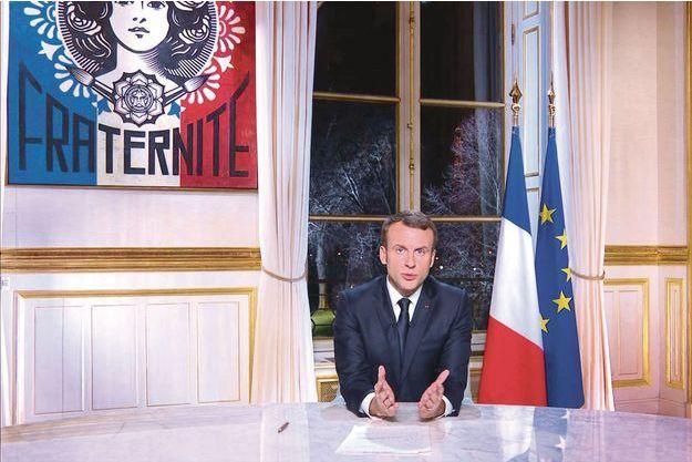 Emmanuel Macron lors de son message de voeux, le dimanche 31 décembre 2017.