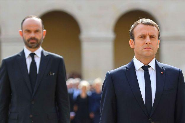 Edouard Philippe et Emmanuel Macron lors de la cérémonie d'hommage à Simone Veil, le 5 juillet.