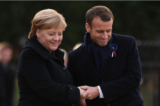 Angela Merkel et Emmanuel Macron à Rethondes.