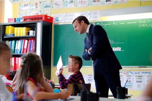 Emmanuel Macron dans une école de Forbach le 4 septembre 2017.