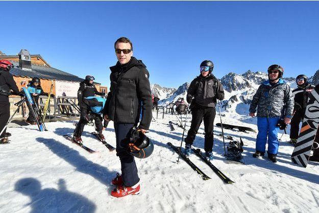 Emmanuel Macron au ski à La Mongie (Pyrénées françaises) le 15 mars 2019