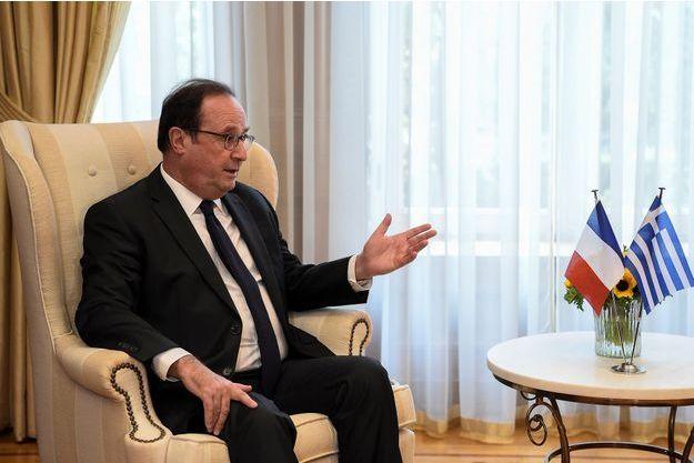 François Hollande lors de sa rencontre avec Alexis Tsipras , à Athènes.