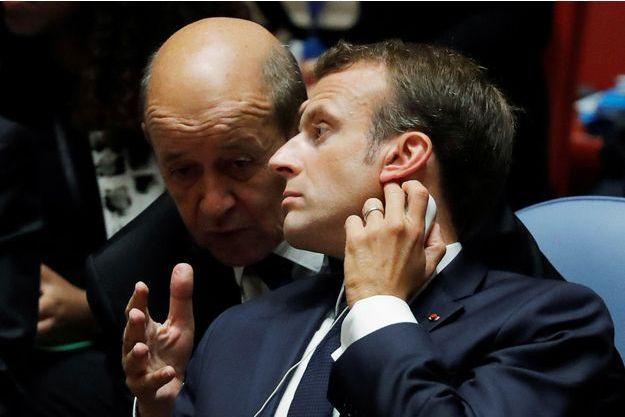 Emmanuel Macron ici avec Jean-Yves Le Drian à l'Onu mercredi.