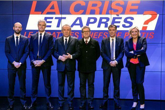 Stanislas Guerini, Laurent Wauquiez, Francois Bayrou, Jean-Luc Mélenchon, Olivier Faure et Marine Le Pen.