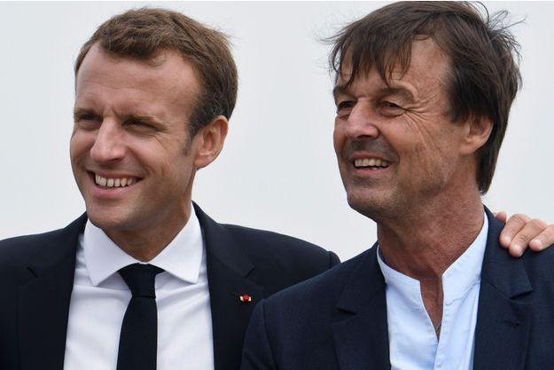 Emmanuel Macron et Nicolas Hulot, ici en juin à Cap Frehel.