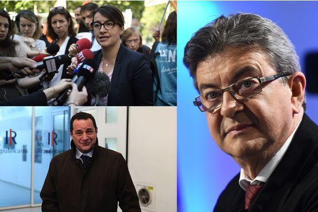 Cécile Duflot, Jean-Luc Mélenchon et Jean-Frédéric Poisson. Tous trois sont opposés à la pérennisation des mesures de l'état d'urgence.
