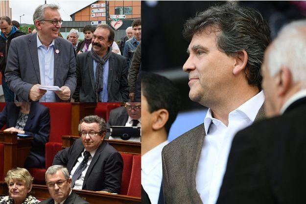 Pierre Laurent avec Philippe Martinez, leader de la CGT, Christian Paul à l'Assemblée nationale et Arnaud Montebourg.