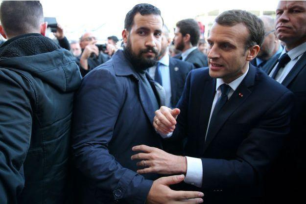Alexandre Benalla avec Emmanuel Macron, le 24 février dernier.