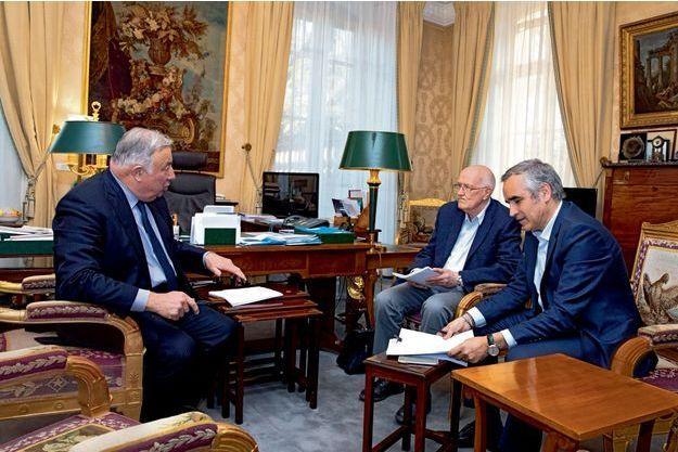 Gérard Larcher, Marcel Gauchet et notre journaliste Bruno Jeudy