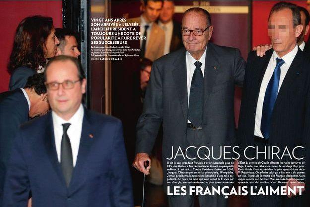 La dernière apparition officielle du président Chirac. Au musée du Quai-Branly, pour la remise du prix de sa Fondation, en présence du président François Hollande, le 21 novembre 2014. Une semaine plus tard, il fêtera ses 82 ans.