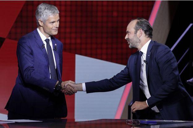 """Laurent Wauquiez et le Premier ministre dans """"L'Emission politique"""", en septembre 2018."""
