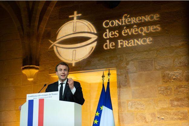 Emmanuel Macron devant la Conférence des évêques lundi.