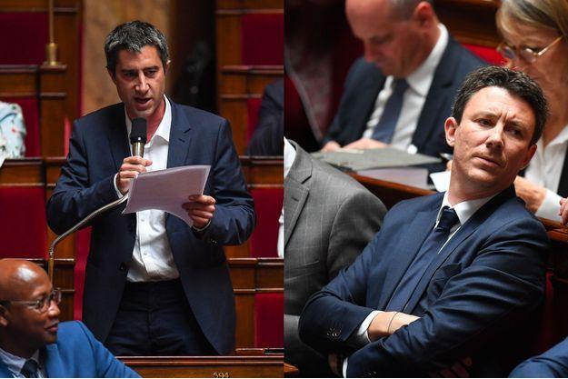 François Ruffin (à g.) et Benjamin Griveaux (à dr.) à l'Assemblée nationale mardi.
