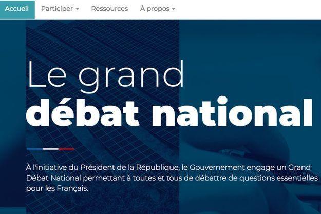 La page d'accueil du site Internet du grand débat national.