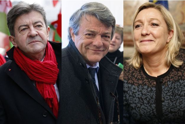 """Jean-Luc Mélenchon, Jean-Louis Borloo et Marine Le Pen sont les trois personnalités qui affichent le plus haut score d'abonnés """"suspects"""" selon les critères établis par Reputation Squad."""
