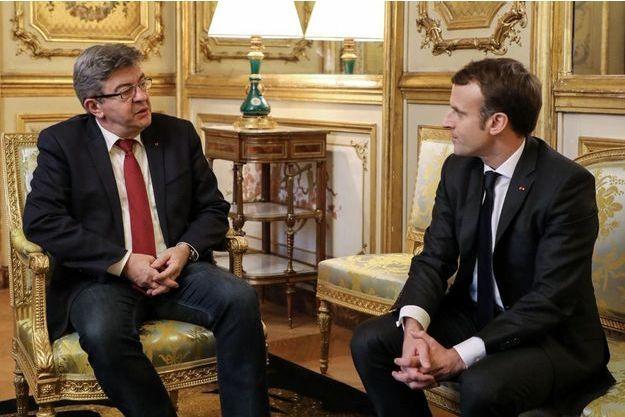 Jean-Luc Mélenchon et Emmanuel Macron le 21 novembre 2017.