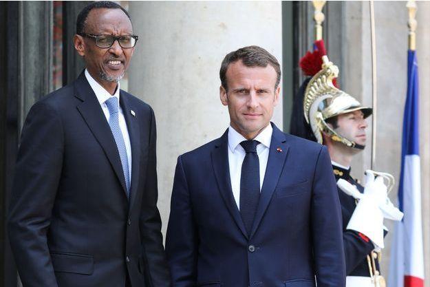 Emmanuel Macron et Paul Kagame, à l'Elysée en mai 2018.