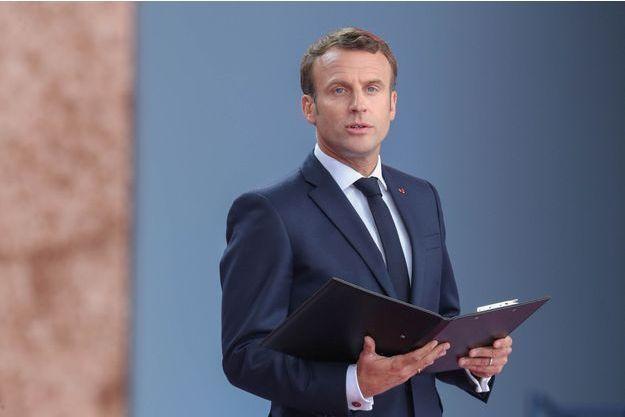 Emmanuel Macron lors des commémorations du D-Day, le 5 juin 2019.
