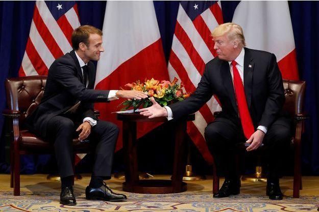 Emmanuel Macron et Donald Trump lundi à New York.
