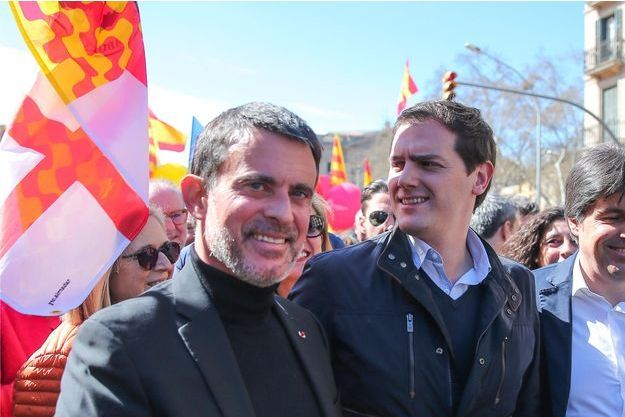 Manuel Valls et Albert Rivera à Barcelone en mars dernier.