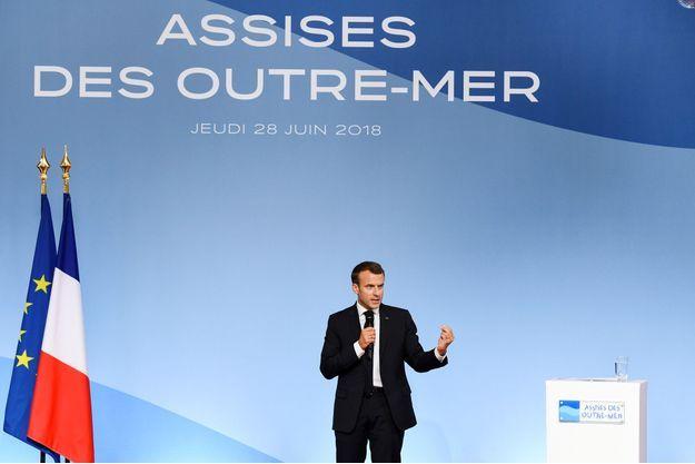 Emmanuel Macron jeudi lors d'un discours à l'Elysée, consacré aux Outre-mer.