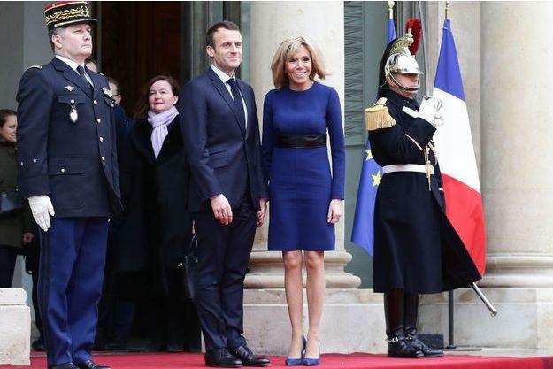 Emmanuel Macron et son épouse Brigitte à l'Elysée en mars 2018.