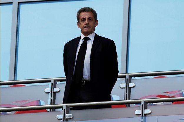 Nicolas Sarkozy dans les tribunes du match France-Australie, à Kazan.