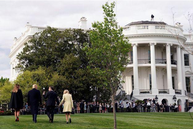 Les couples Macron et Trump ont planté ensemble l'arbre offert par le président français à son homologue.
