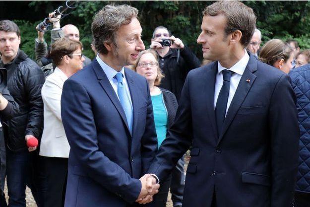 Stéphane Bern et Emmanuel Macron à Marly-le-Roi, en septembre dernier