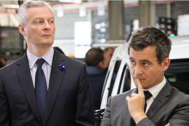 Bruno Le Maire et Gérald Darmanin, à Maubeuge dans une usine Renault, en novembre 2018.