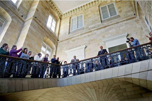 Alain Juppé, le 14 février à Bordeaux, après l'annonce de sa nomination au Conseil constitutionnel et son départ de la mairie.
