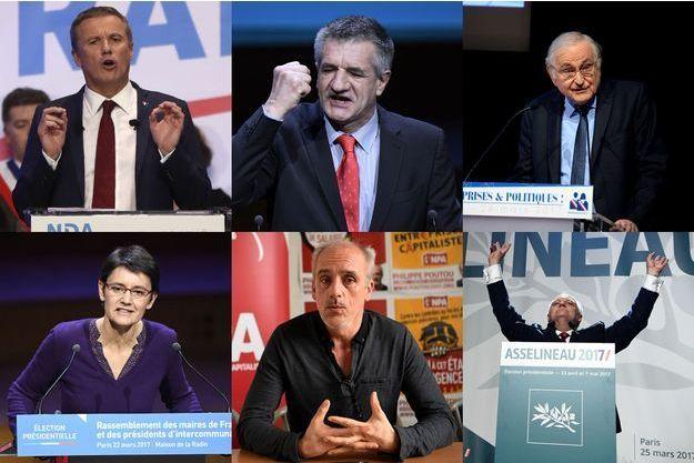 Nicolas Dupont-Aignan, Jean Lassalle, Jacques Cheminade, Nathalie Arthaud, Philippe Poutou et François Asselineau.
