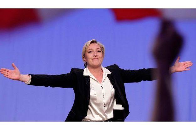 Marine Le Pen en meeting à Strasbourg, dimanche.