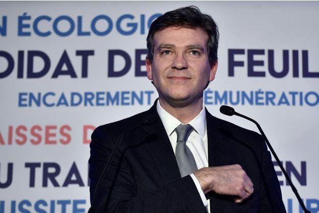 Arnaud Montebourg après son discours du premier tour de la primaire de la gauche.