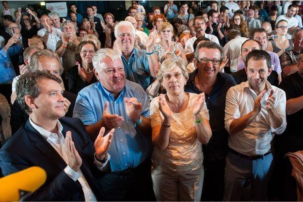 Quatre candidats à la primaire : Arnaud Montebourg, Gérard Filoche, Marie-Noëlle Lienemann et Benoît Hamon encouragés par Christian Paul, le 11 septembre à La Rochelle