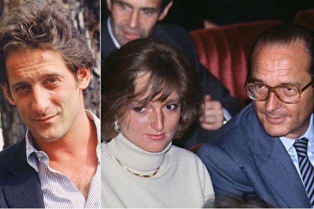 Vincent Lindon (au Festival de Cannes 1987) et Claude et Jacques Chirac (en 1984 à Paris).