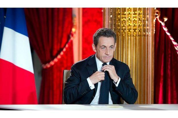 Nicolas Sarkozy à l'Elysée, dimanche soir, lors de son interview.