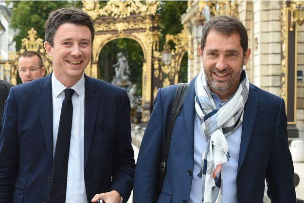 Benjamin Griveaux et Christophe Castaner, lors d'un séminaire gouvernemental à Nancy en juillet.