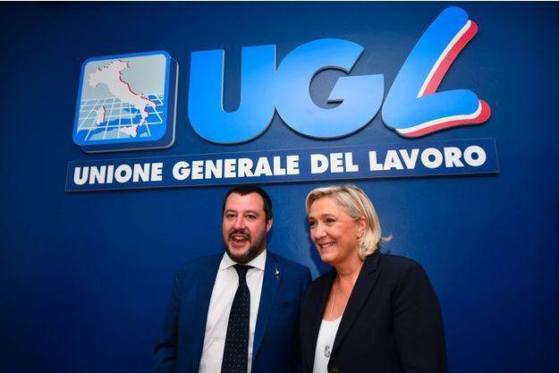 Matteo Salvini et Marine Le Pen lundi à Rome.