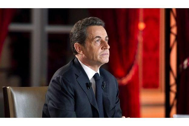 Nicolas Sarkozy lors de son intervention télévisée.