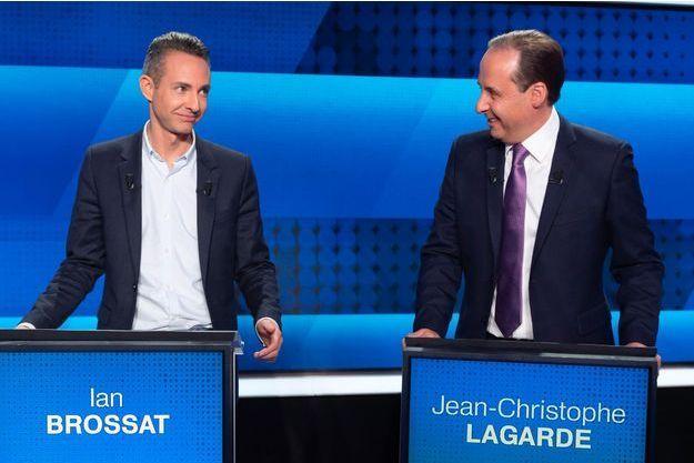 """Ian Brossat (PC) et Jean-Christophe Lagarde (UDI) jeudi 4 avril, sur le plateau de """"L'Emission politique"""", sur France 2."""