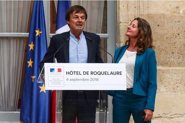 Nicolas Hulot aux côtés de son épouse Florence Lasserre-David, lors de la passation de pouvoir au ministère de l'Ecologie, le 4 septembre.